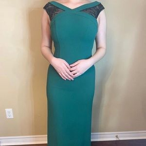 Forest green prom dress with black lace